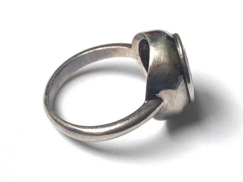 Vintage Sterling Silver Amethyst Boma Modernist Band Ring Size 5.25