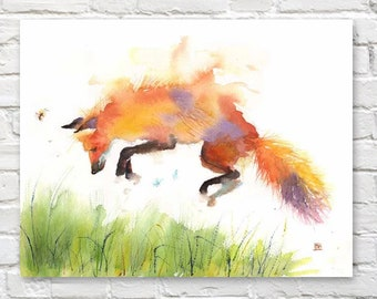 Fox Print Canvas Poster Art Watercolor Wall Red Jumping Nursery Gift