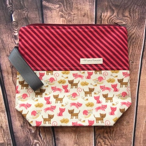 Pink Flamingo 2-3 skein Project Bag knitting crochet WIP Planner accessory embroidery Makeup travel