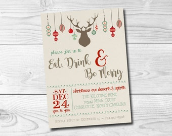 Christmas Invitation Digital Ornaments Reindeer Rustic