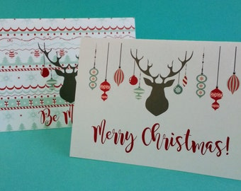 Christmas Cards Note Cards Digital Download Reindeer Red Aqua Ornaments Rustic
