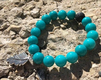 Turquoise Feather Aromatherapy Diffuser Bracelet