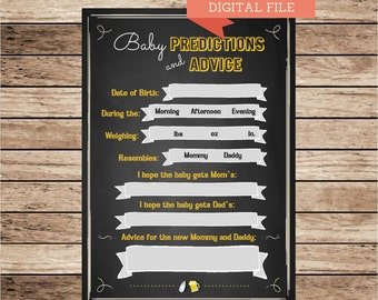 Baby shower, predictions, advice, chalkboard invitation, Beer and Diapers Shower, Baby Shower invite, co-ed baby shower, Baby is Brewing