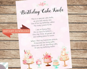 Birthday Cake Knife Poem First Gift Cutter Caking Cutting Special For Baby Keepsake Memorable
