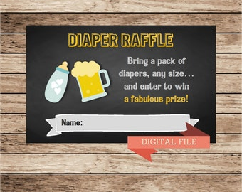 Diaper raffle card, diaper game, chalkboard invitation, Beer and Diapers Shower, Baby Shower games, co-ed baby shower, Baby is Brewing, baby