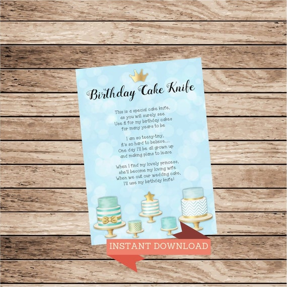 Birthday Cake Knife Poem First Gift Cutter