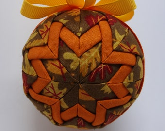 Quilted Fabric Ornament Fall Autumn Leaves Thanksgiving