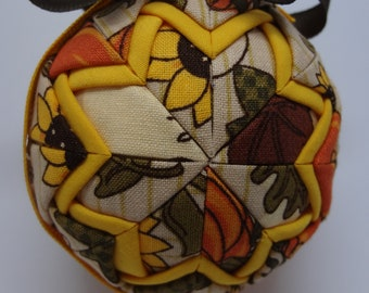 Quilted Fabric Ornament Fall Autumn Sunflowers Leaves Pumpkins