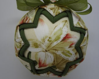 Quilted Fabric Ornament Spring Lily Lilies Garden