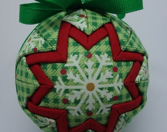 Quilted Fabric Ornament Green Plaid Check Plaid Snowflakes