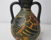 Vintage Native American Hand Painted Double Handled Jug Vase Pottery Owl Black