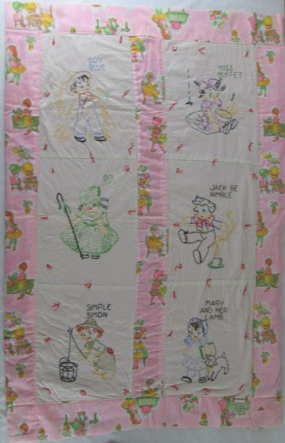 quilted and embroidered happy animals Vintage baby blanket