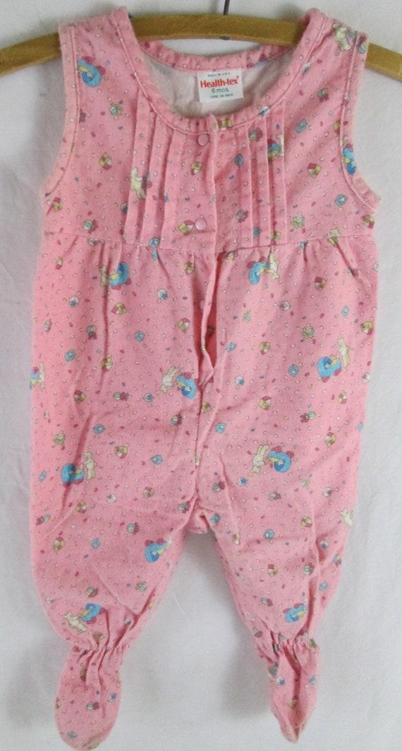 1970s Baby Girls Footie Pajama Health-tex Bubblegu