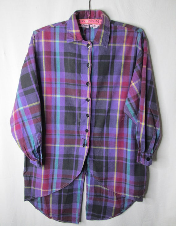 Star of India 1970s Blouse Long Small Purple Plaid