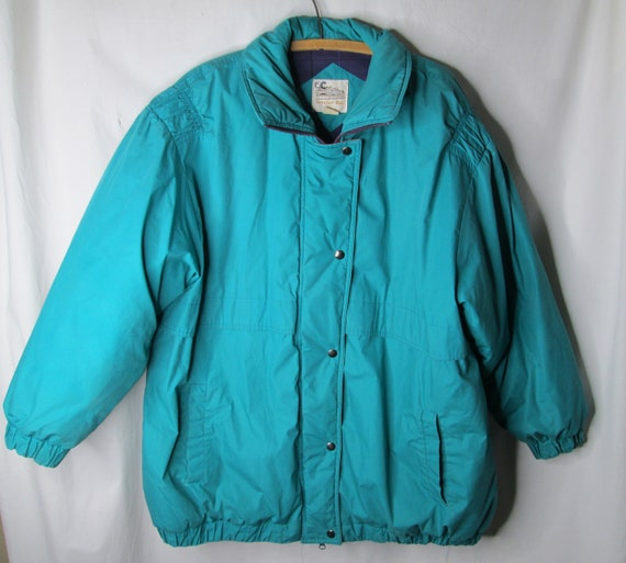 1980s Windsor Bay Down Puffer Jacket Coat Teal Blu