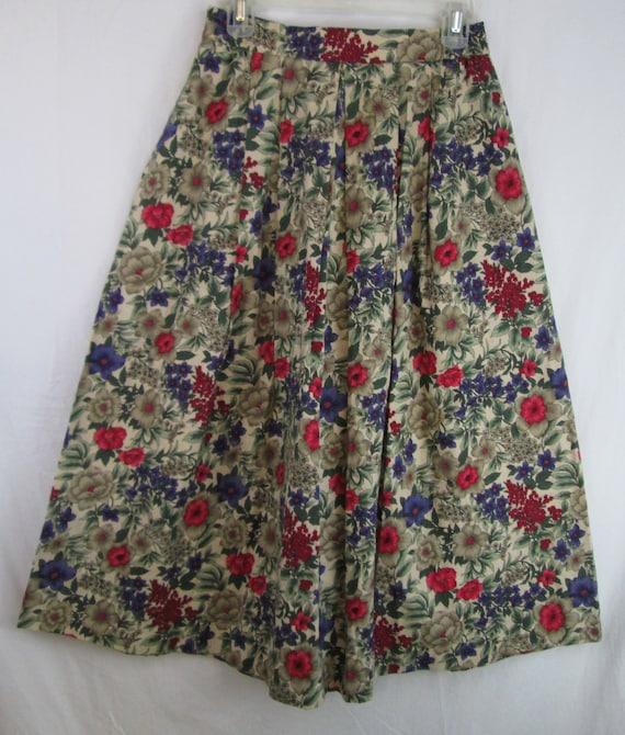 c86a7fe140e9 Vintage Maxi Rock Luce kleine 100 % Baumwolle Floral Print Plissee  Böhmische Hippie voller lang