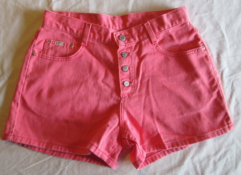 1990s Riders High Waisted Pink Denim Shorts 30 Bright Colorful 90s