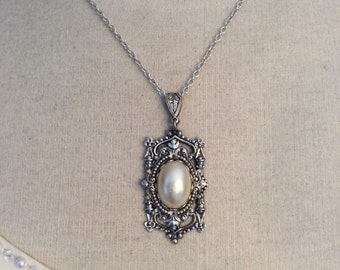 Necklace Victorian Necklace Victorian jewelry pearl bridal necklace vintage style bridal jewelry silver pearl necklace bridal accessories