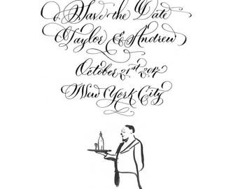 Custom Hand Calligraphy Save the Date with illustration