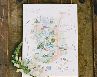 Custom Map. Hand Drawn & Hand Lettered. Hand Painted Art Map. Water colour.