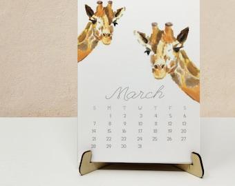 "2022 Desk Calendar - Monthly Animal Art, 5x7"", Gift for Kid, Coworkers, Graduation, Housewarming, Home Office Wall Decor Baby Nursery"