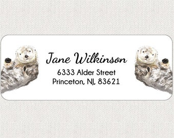 51411fe4e Sea Otters Return Address Labels - Stickers - Personalized - Kids Labels -  Baby Shower - Animal - Whimsical
