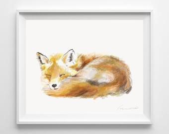 Fox Art Print, Boho Wall Decor, Woodland Animals, Nursery Minimalist Baby Room, Earth Tone Monochromatic, Modern Gender Neutral