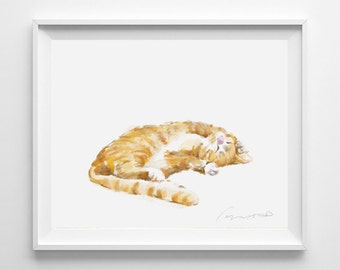 Cat Print - Orange Tabby  Ginger Cat Painting, Home Wall Decor, Watercolor Art, Crazy Cat Lady, Cat Lover Gift, Minimal