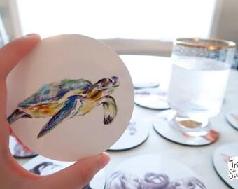 Sea Turtle Coaster - Cute Simple Ocean Beach Sea Animal Drinks Mat - Round Coaster Set - Animal Lover Gift Idea