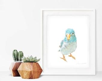 Blue Turquoise Love Bird Print, Bird Decor, Nursery Art, Nursery Decor, Bird Watercolor Print, Cute Baby Decor