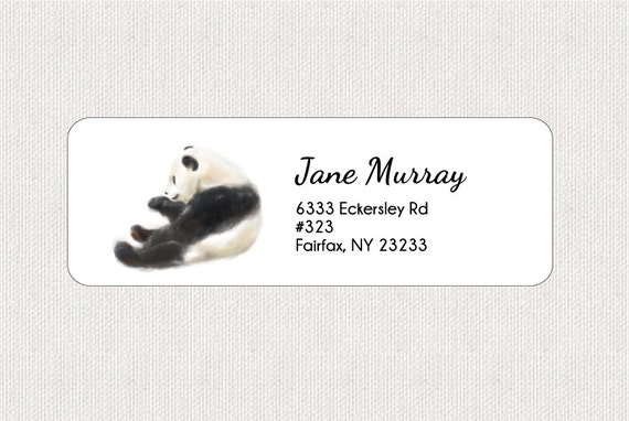 panda return address labels stickers personalized bird etsy
