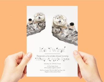 Sea Otters Birthday Party Invite, Woodland Party Invitation, Sea Otters Invitation, Kids Birthday Party