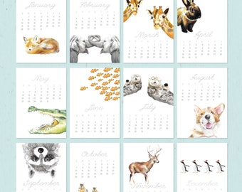 ON SALE / 2018 Calendar - Animal Calendar - Desk Calendar - 5x7 - 8x10 - Nursery Arts - Gift for Kid, Coworkers - New Year Gift