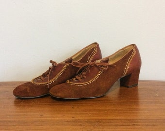 Vintage 30s 40s Lace Up Heels Shoes / 1930s Brown Leather Oxfords / 6 1/2