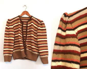 2241525868 Vintage 70s 80s Striped Cardigan Sweater   Earthtone Puff Sleeve Sweater    Hippie Boho Sweater