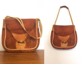 04234896009c Vintage 70s Rust Suede Hippie Purse   Hippie Festival Bag   Boho Leather  Tote