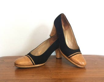 Vintage 50s 60s Two Tone Pumps   Cap Toe Black and Tan Heels   Rockabilly  Swing Pinup Round Toe Pumps   Hill and Dale