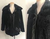Vintage 60s 70s Black Leather Fur Jacket Persian Lamb Curly Lamb Coat Boho Hippie Mod Winter Coat