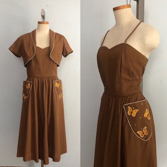 Vintage 50s Butterfly Sun Dress / Brown Full Circl