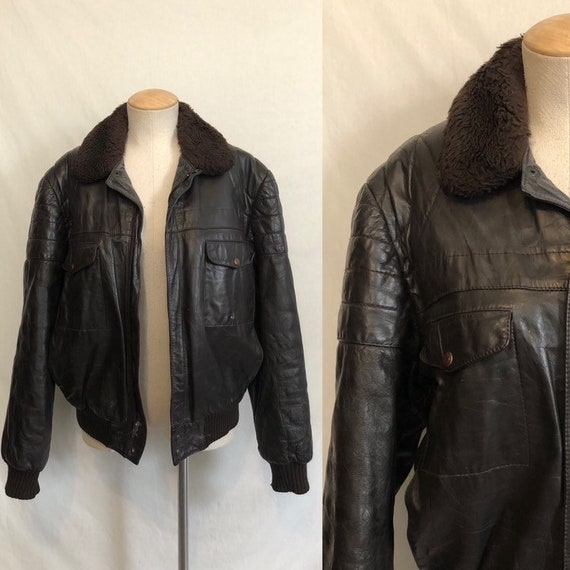 Vintage 60s 70s Flight Jacket / Brown Leather Bomb