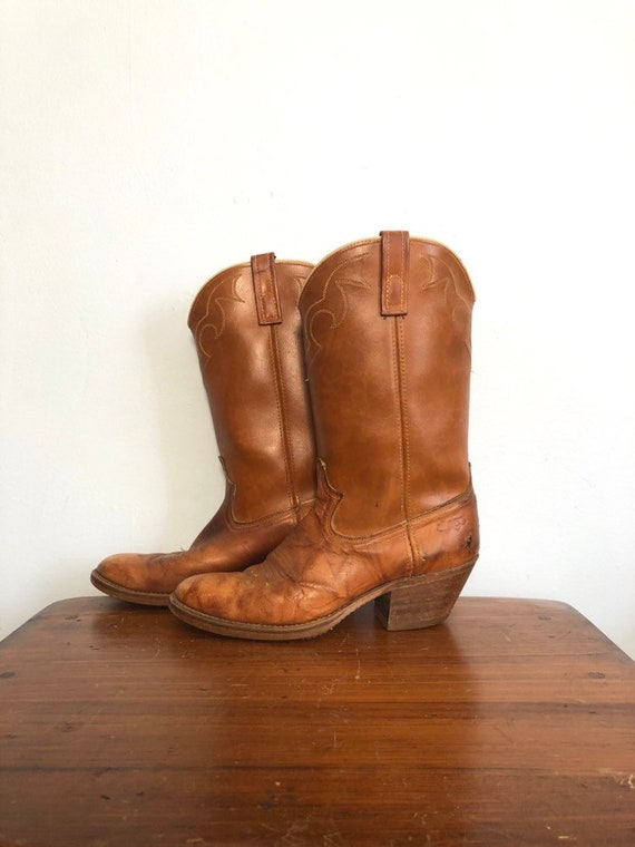 Vintage Cowboy Boots Brown Leather Western Rockabilly Mens Size 9 D Distressed