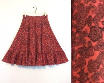 Vintage 50s Red Paisley Circle Skirt / Rockabilly Swing Full Skirt / Paisley Print Skirt / Small or Medium