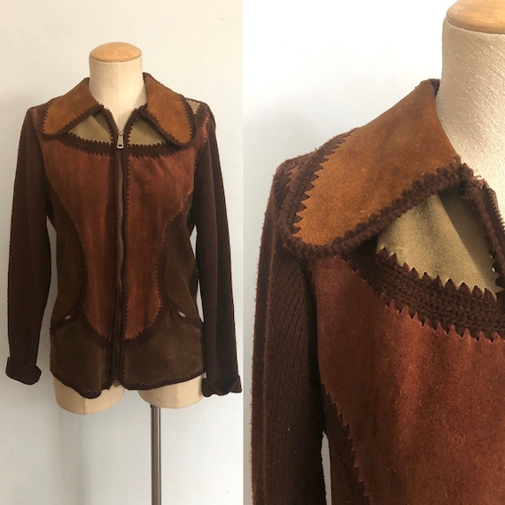 Vintage 70s Suede Sweater Patchwork Jacket / Rust