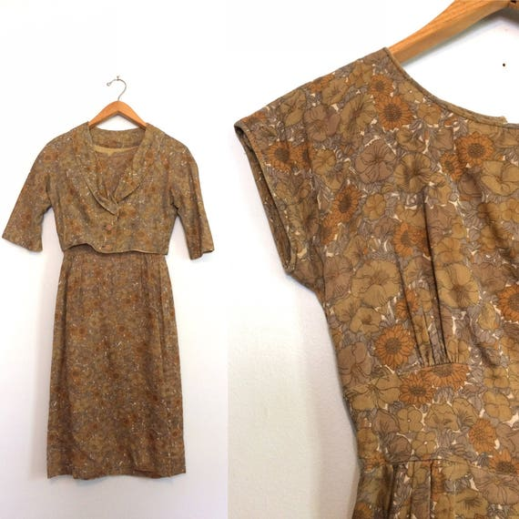 Vintage 60s Day Dress w/ Jacket / Brown Cotton Flo
