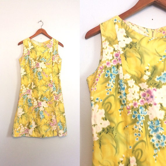 Vintage 60s Yellow Floral Dress / Garden Party Dre