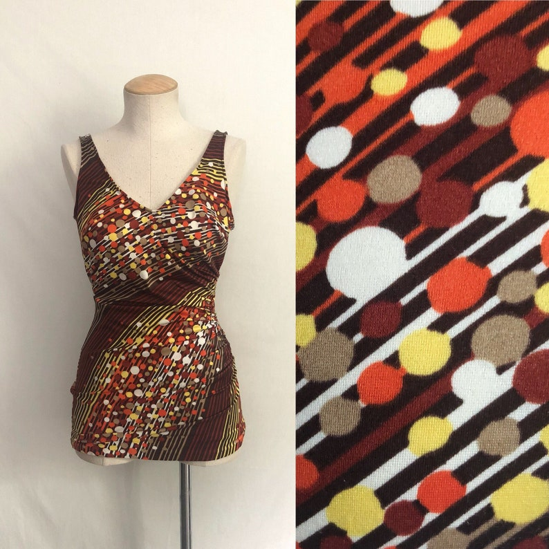 571beb3037339 Vintage 60s 70s Orange Brown Swimsuit / Psychedelic Print One   Etsy