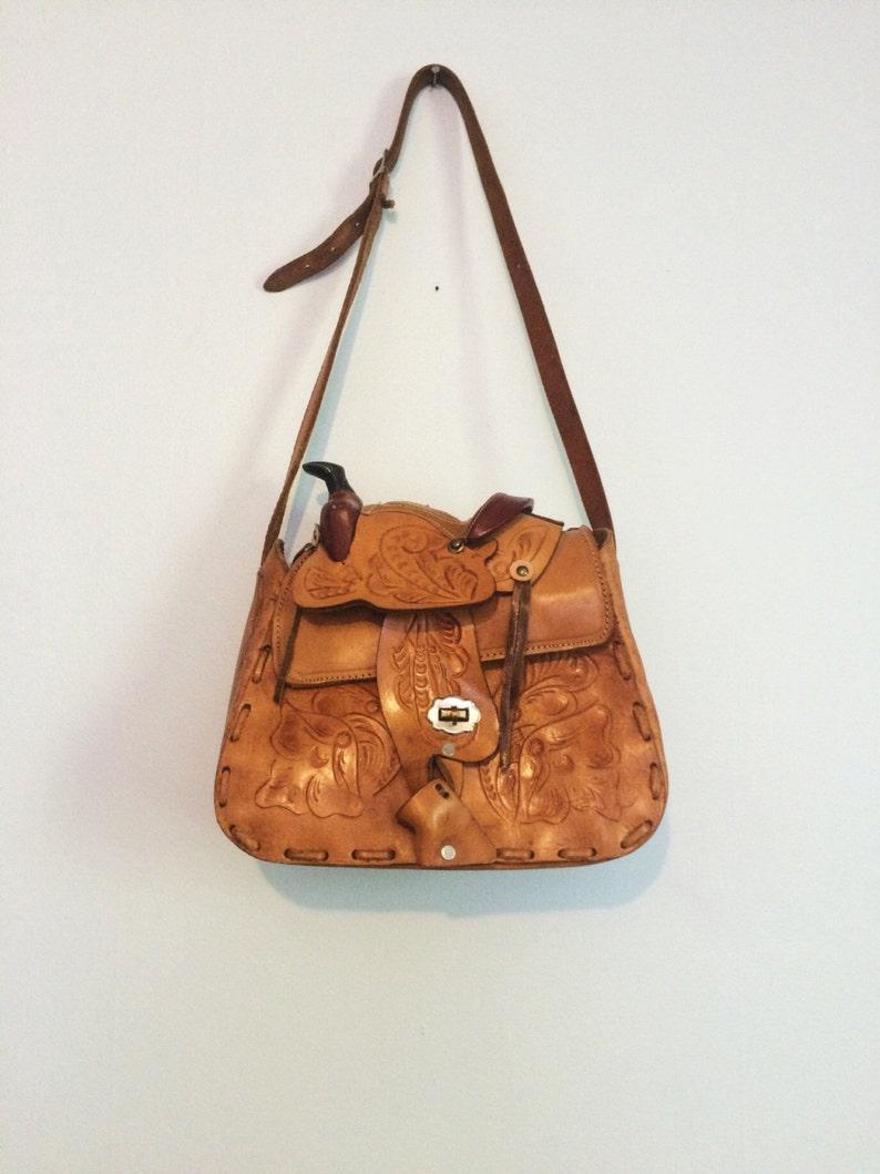 4d5f59f9abfa Vintage Tooled Brown Leather Saddle Purse   Boho Hippie Bag