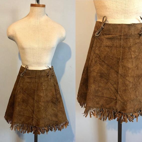 Vintage 60s 70s Suede Fringe Mini Skirt / Hippie F