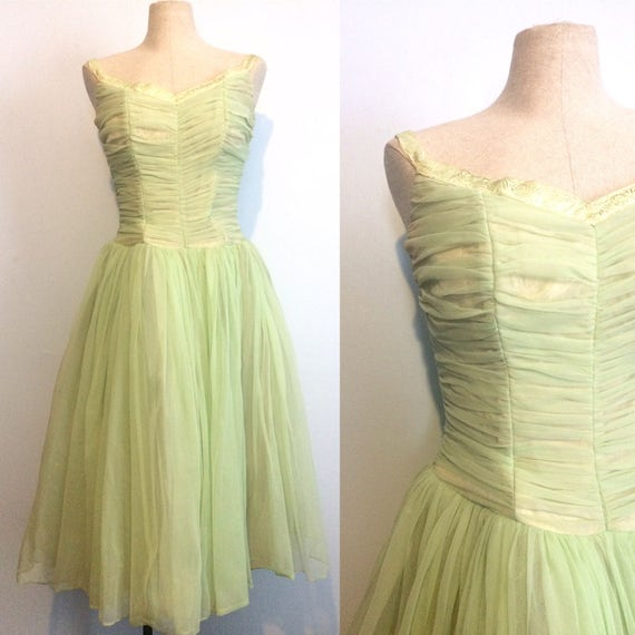Vintage 50s Mint Green Party Dress / Mid Century 1