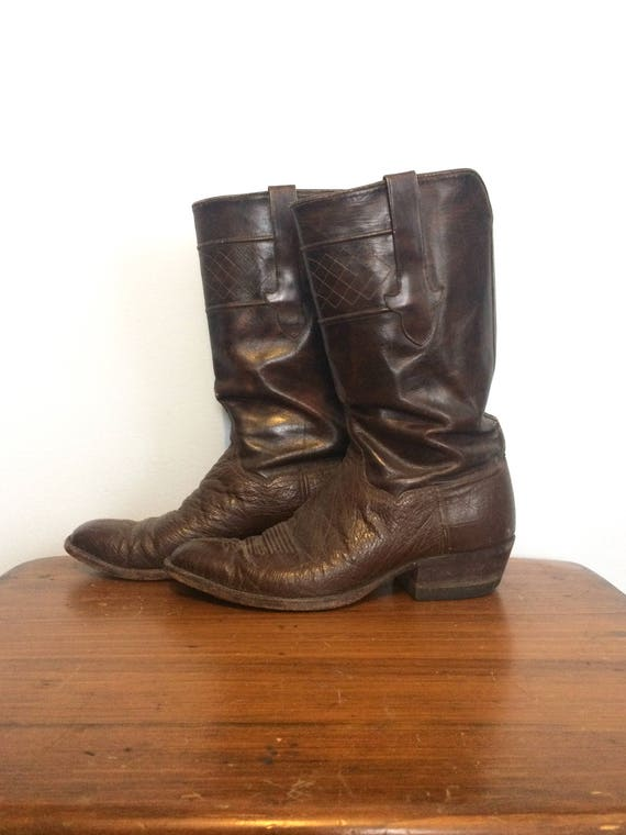 Vintage Brown Cowboy Western Boots / Embroidered L